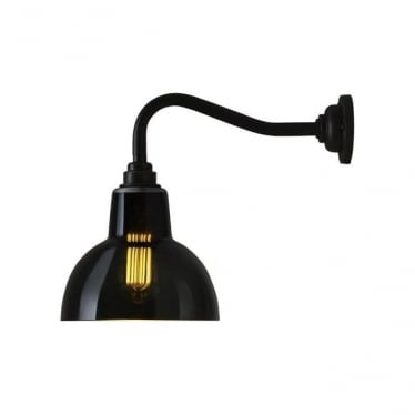 Glass york wall light size 1 - Anthracite and weathered brass