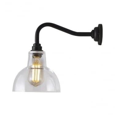 Glass york wall light size 1 - Clear and weathered brass