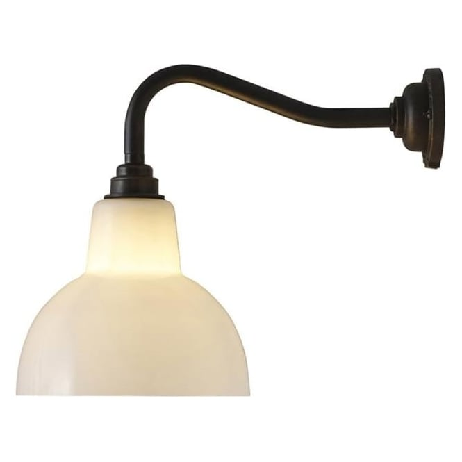 Original BTC Lighting Glass york wall light size 1 - Opal and weathered brass