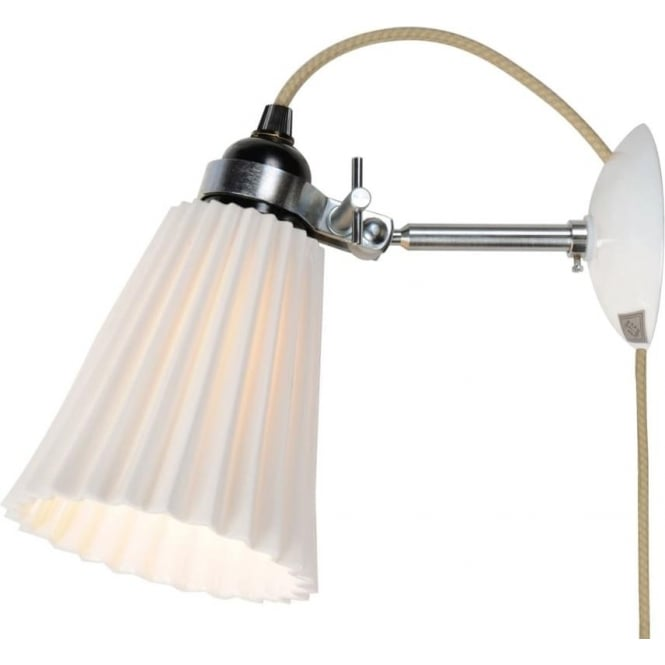 Original BTC Lighting HECTOR MEDIUM PLEAT WALL LIGHT, PLUG, SWITCH & CABLE - Natural White
