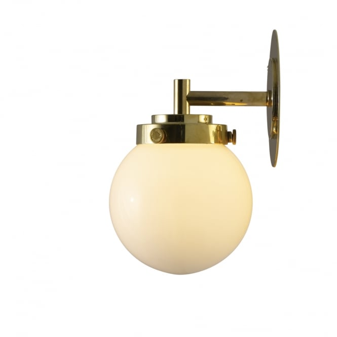 Original BTC Lighting Mini Globe Wall Light - Opal With Brass