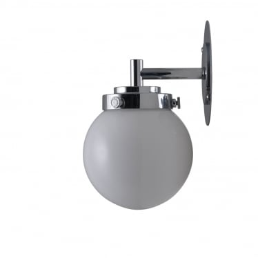Mini globe wall light opal with chrome
