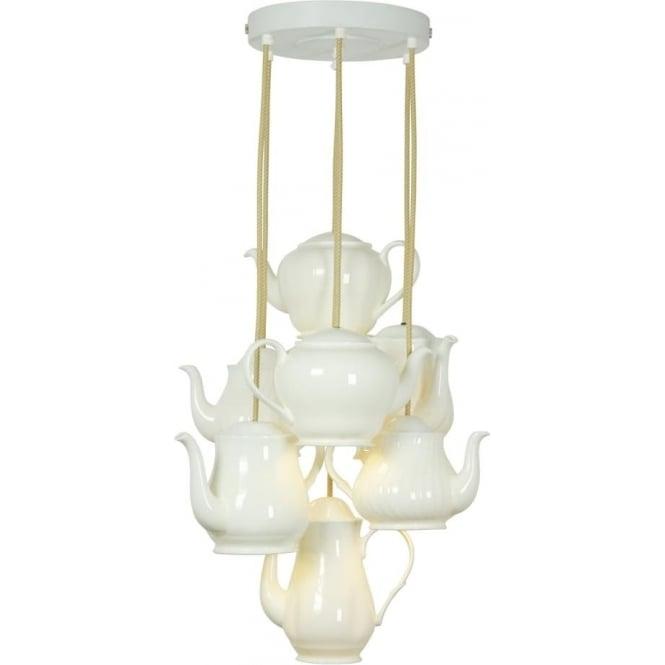Original BTC Lighting Teapot pendant grouping of seven - white gloss