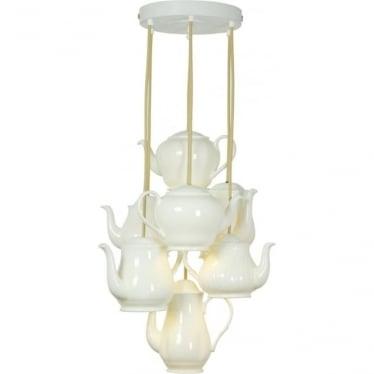 Teapot pendant grouping of seven - white gloss