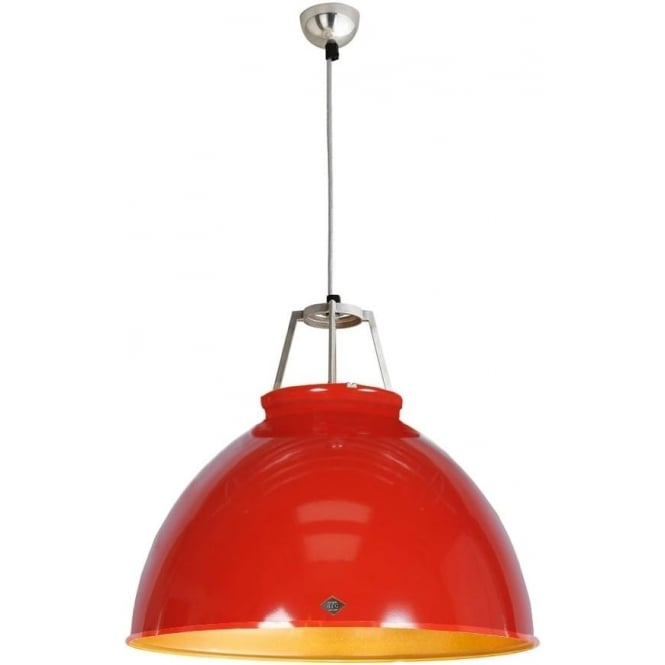 Original BTC Lighting Titan Pendant Light with Coloured Interior - size 5 - Gold interior