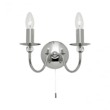 Parkstone 2 light wall fitting - Chrome plate & clear glass