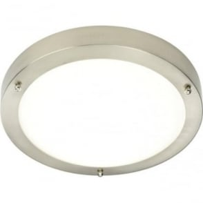 Portico LED 300mm Flush Fitting IP44 - Satin nickel & frosted glass