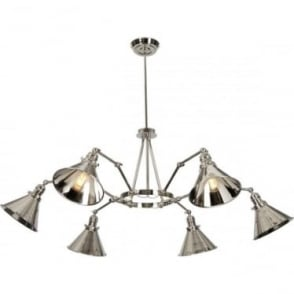 Provence 6 Arm Chandelier Polished Nickel