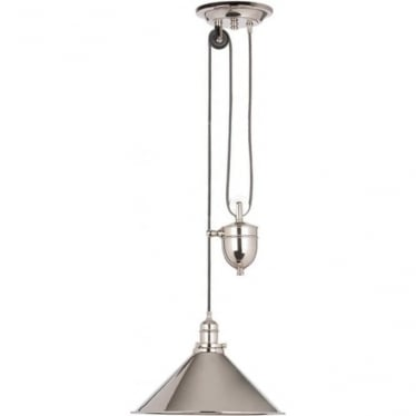 Provence Single light Rise and Fall Pendant Polished Nickel