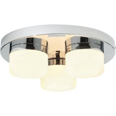 Pure 3 Light Flush Fitting IP44 - Chrome Plate & Matt Opal Duplex Glass
