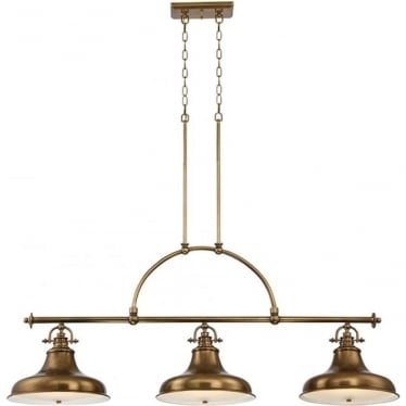 Emery 3 Light Island Chandelier Weathered Brass