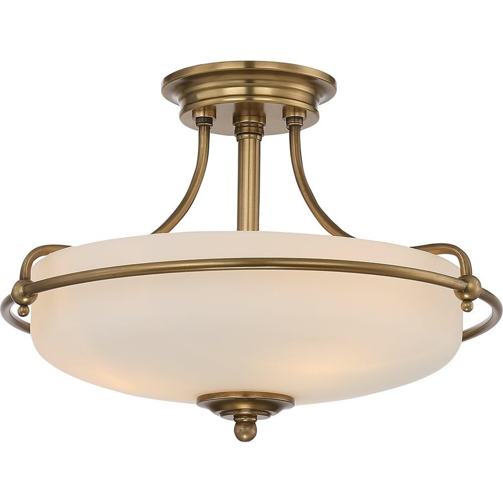 Quoizel quoizel griffin 3 light semi flush ceiling light weathered griffin 3 light semi flush ceiling light weathered brass aloadofball Choice Image