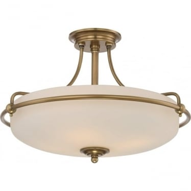 Griffin 4 Light Semi-Flush Ceiling Light Weathered Brass
