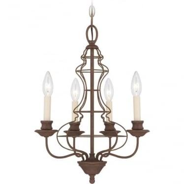 Laila 4 Light Chandelier Rustic Antique Bronze