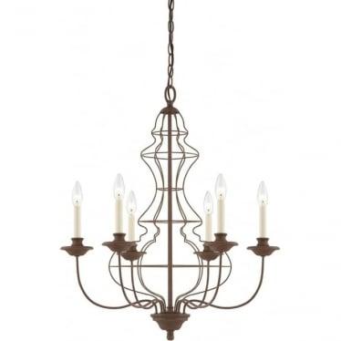 Laila 6 Light Chandelier Rustic Antique Bronze