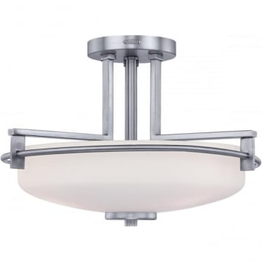Taylor Semi Flush Mounted Bathroom LED Ceiling Light IP44 Polished Chrome