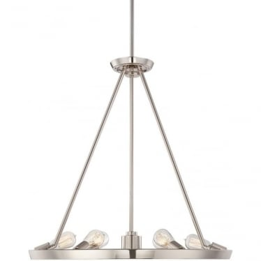 Theater Row 6 light Chandelier Imperial Silver