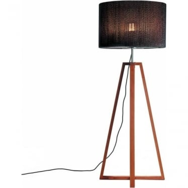 Club - Electro polished stainless steel & teak - Amber shade - 1850mm