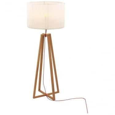 Club - Electro polished stainless steel & teak - Beige shade - 1850mm