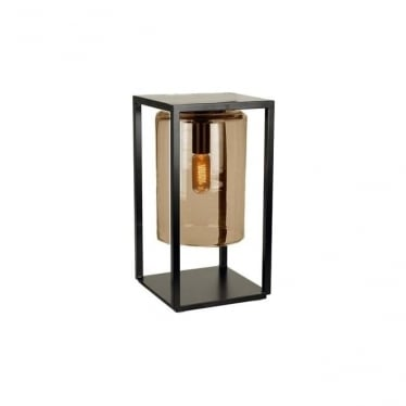 Dome Gate lamp - Black frame & Amber glass