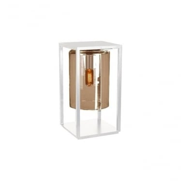 Dome Gate lamp - White frame & Amber glass