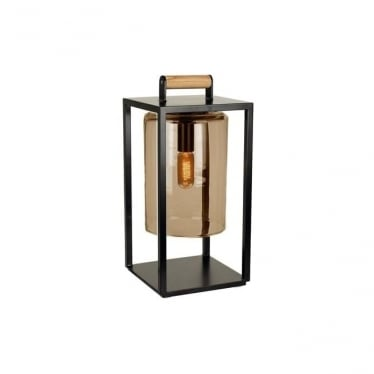 Dome Small lamp - Black frame & Amber glass