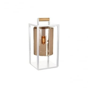 Dome Small lamp - White frame & Amber glass