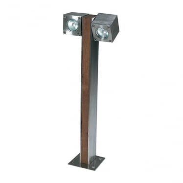 Q-Bic - Teak & Electro polished stainless steel - Double - 600mm
