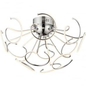 Sandy 12 light semi flush ceiling fitting - Chrome