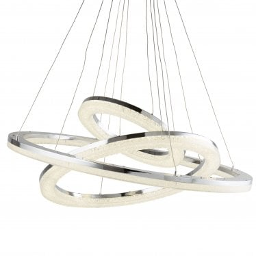 Searchlight Ceiling Pendant Light Chrome Crushed Ice Effect Glass Shade D 153 cm