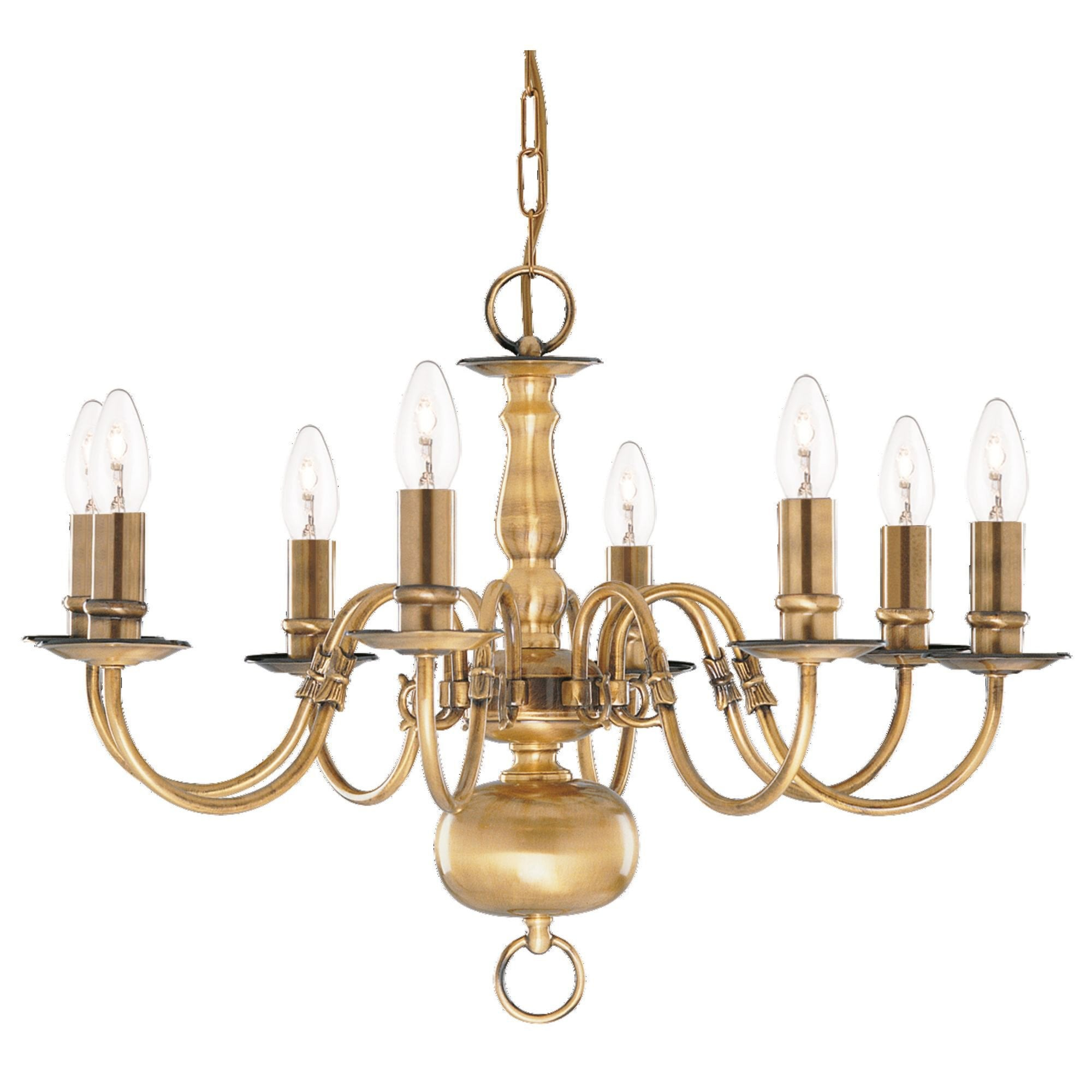 Flemish Solid Antique Brass 8 Light Chandelier With Metal Candle Covers Moonlight Design