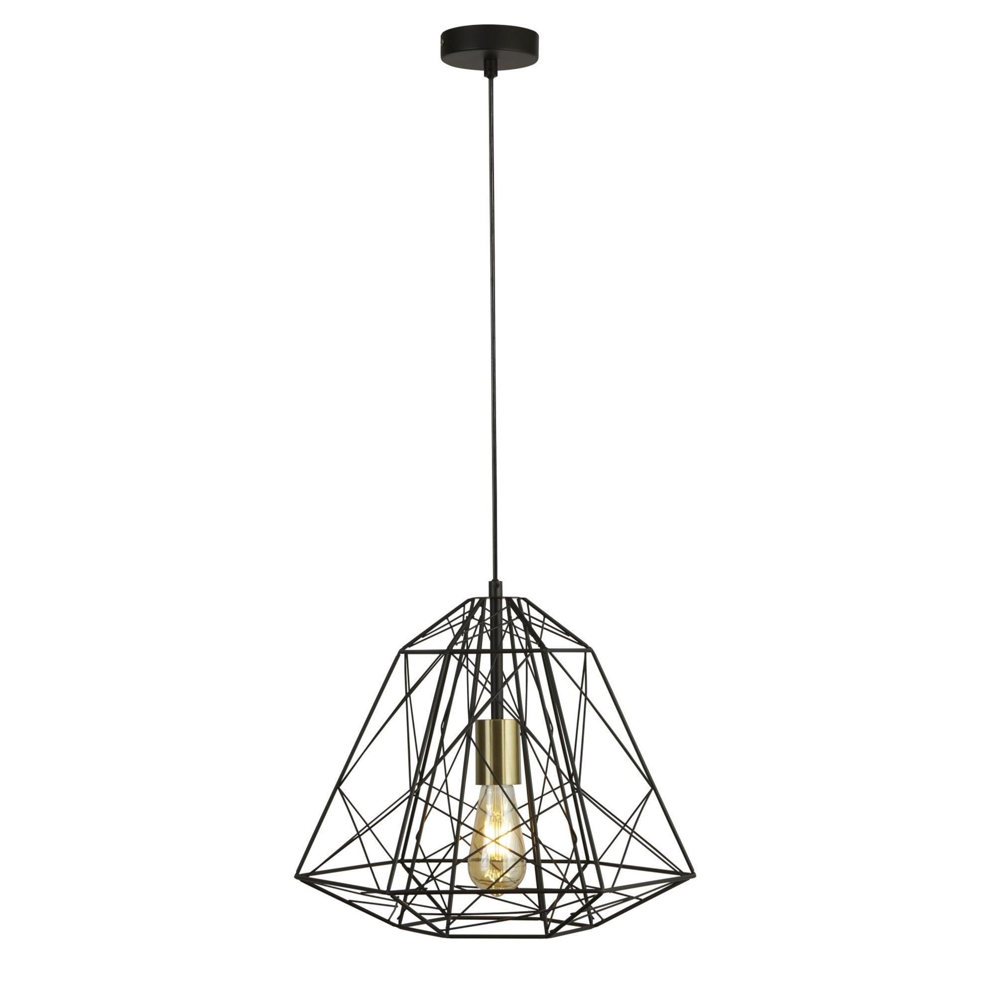 Geometric Cage Single Light Pendant Matt Black With Satin Brass Moonlight Design