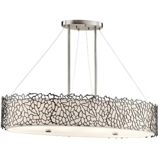 Kichler Silver Coral Oval Island Light Classic Pewter