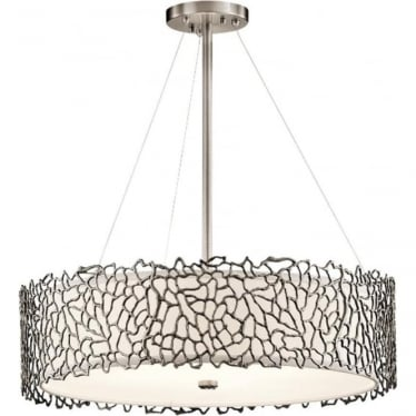 Silver Coral Pendant Classic Pewter