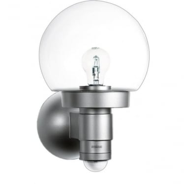 L 115 S Classic Globe Wall light with 240 degree PIR - silver