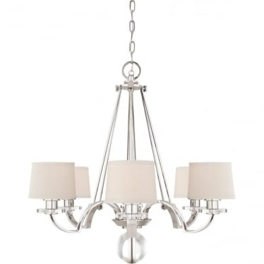 Sutton Place 6 light Chandelier Imperial Silver