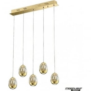 Terrene 5 Light Bar Pendant Gold Dimmable