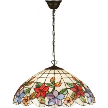 Tiffany Glass Country border large 3 light pendant
