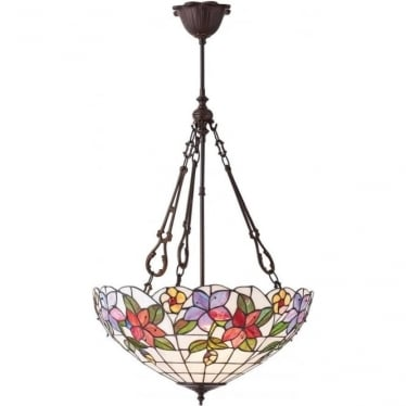 Tiffany Glass Country border large inverted 3 light pendant