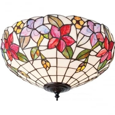 Tiffany Glass Country border medium 2 light flush fitting