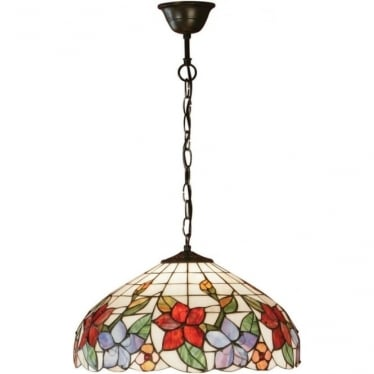Tiffany Glass Country border medium single light pendant