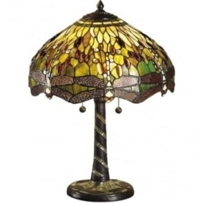 Tiffany Glass Dragonfly green medium table lamp