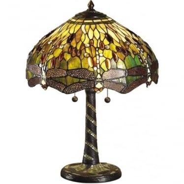 Tiffany Glass Dragonfly green medium table lamp