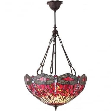 Tiffany Glass Dragonfly red large inverted 3 light pendant