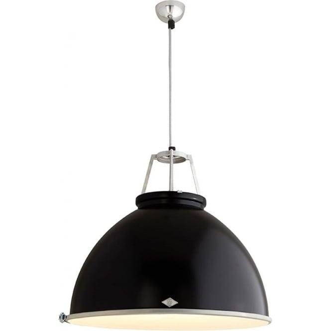 Original BTC Lighting Titan Pendant Light with Etched Glass - size 5 - colour options