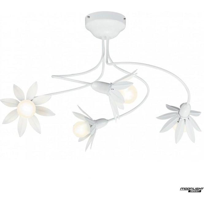 tp24 LED Lighting Hockney 4 arm petal pendant light - White gloss