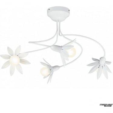 Hockney 4 arm petal pendant light - White gloss