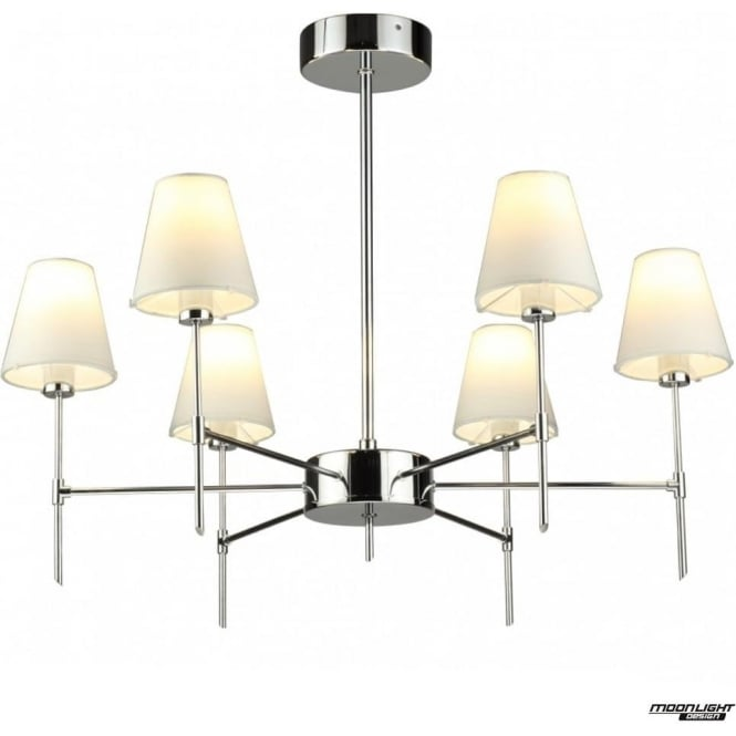 tp24 LED Lighting Metz 6 arm pendant - Chrome with coloured shades