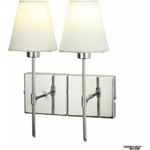 Metz Double light wall fitting - Chrome with coloured shades