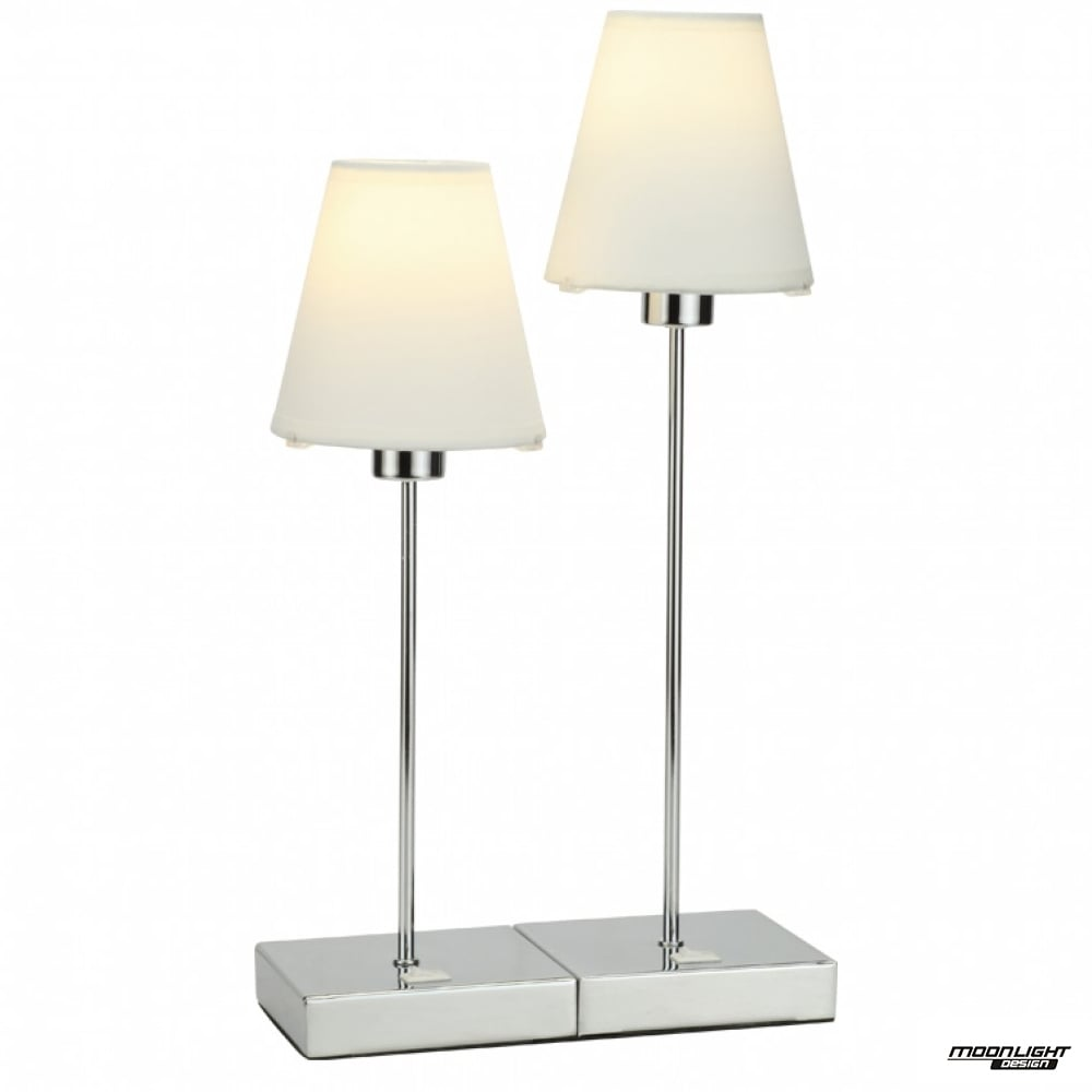 Beau Metz Double Table Lamp   Chrome With Coloured Shade